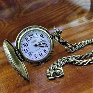 Vintage Gruen SWISS Bronze Day & Date Pocket Watch